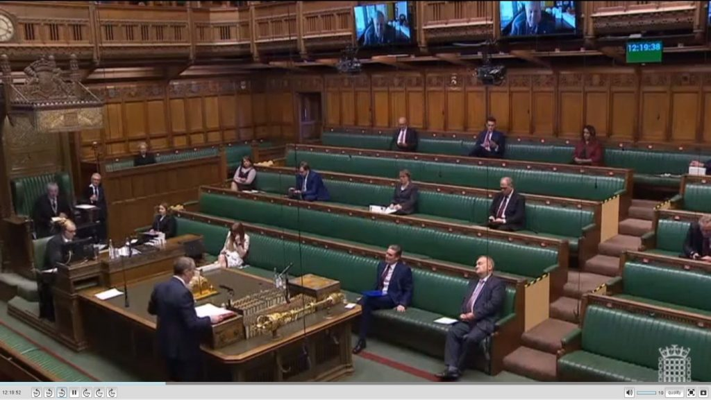 Screens in the House of Commons for virtual participants; Dominic Raab stands in for Boris Johnson at Prime Minister's Questions on 22 April, when the PM was hospitalised with coronavirus.